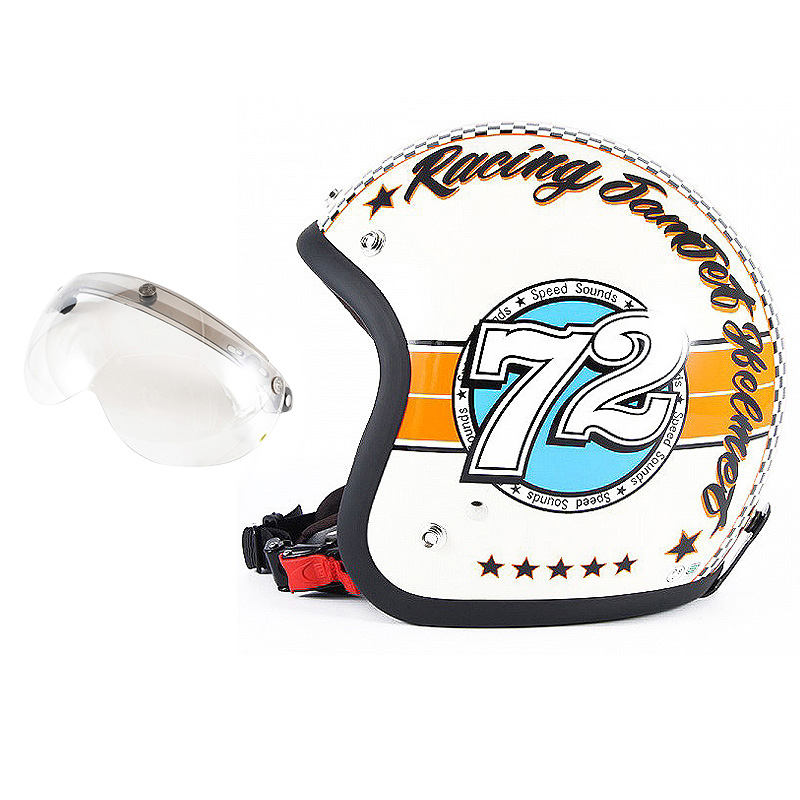 72JAM デザイナーズジェットヘルメット [JJ-04] 開閉シールド付き [APS-02]SPEED SOUND スピードサウンド アイボリー [アイボリーベースグロス仕上げ]FREEサイズ(57-60cm未満) メンズ レディース 兼用品 SG規格 全排気量対応