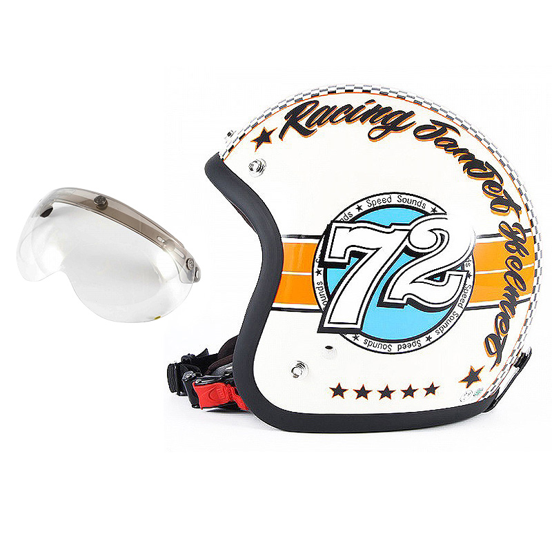 72JAM デザイナーズジェットヘルメット [JJ-04] 開閉シールド付き [APS-03]SPEED SOUND スピードサウンド アイボリー [アイボリーベースグロス仕上げ]FREEサイズ(57-60cm未満) メンズ レディース 兼用品 SG規格 全排気量対応