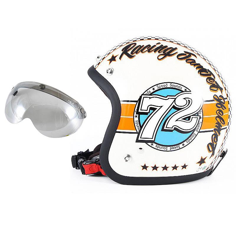 72JAM デザイナーズジェットヘルメット [JJ-04] 開閉シールド付き [APS-04]SPEED SOUND スピードサウンド アイボリー [アイボリーベースグロス仕上げ]FREEサイズ(57-60cm未満) メンズ レディース 兼用品 SG規格 全排気量対応