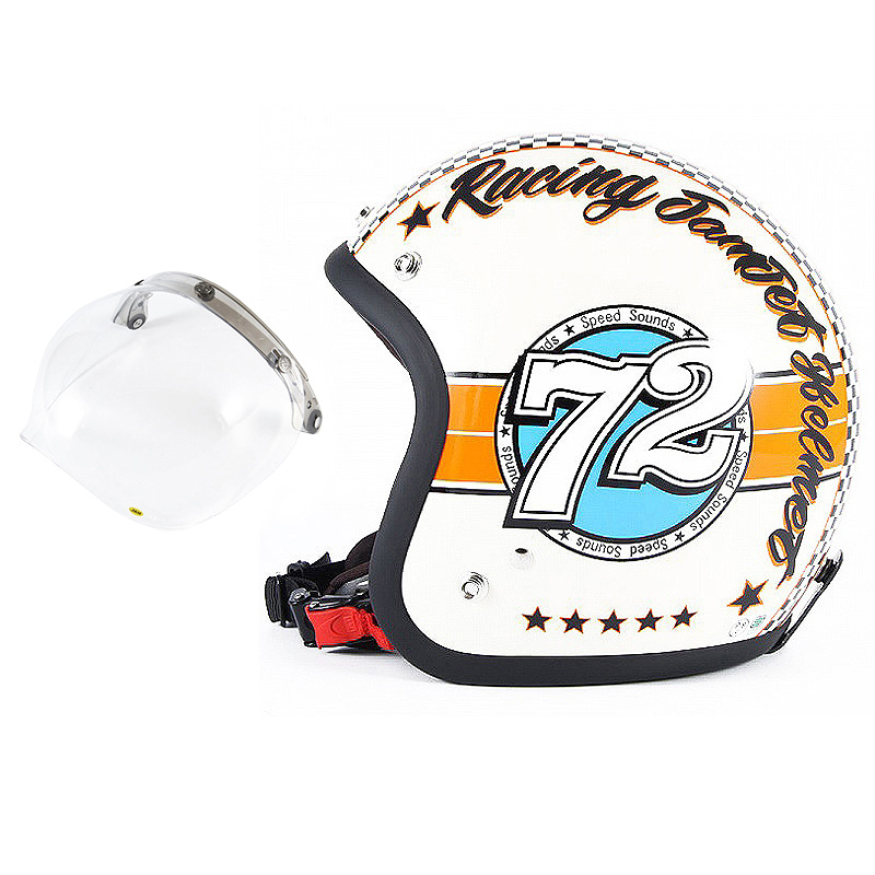 72JAM デザイナーズジェットヘルメット [JJ-04] 開閉シールド付き [JCBN-01]SPEED SOUND スピードサウンド アイボリー [アイボリーベースグロス仕上げ]FREEサイズ(57-60cm未満) メンズ レディース 兼用品 SG規格 全排気量対応
