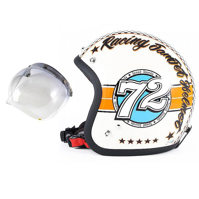 72JAM デザイナーズジェットヘルメット [JJ-04] 開閉シールド付き [JCBN-05]SPEED SOUND スピードサウンド アイボリー [アイボリーベースグロス仕上げ]FREEサイズ(57-60cm未満) メンズ レディース 兼用品 SG規格 全排気量対応