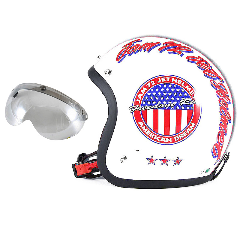 72JAM デザイナーズジェットヘルメット [JJ-05] 開閉シールド付き [APS-04]J&A ホワイト [パールゴールドホワイトベースグロス仕上げ]FREEサイズ(57-60cm未満) メンズ レディース 兼用品 SG規格 全排気量対応