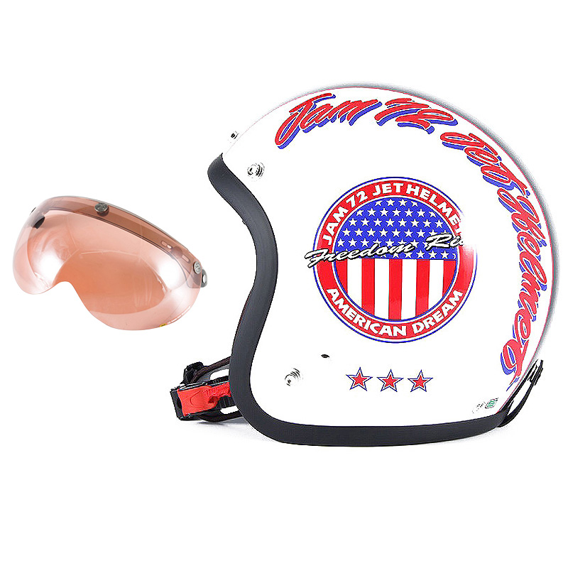 72JAM デザイナーズジェットヘルメット [JJ-05] 開閉シールド付き [APS-05]J&A ホワイト [パールゴールドホワイトベースグロス仕上げ]FREEサイズ(57-60cm未満) メンズ レディース 兼用品 SG規格 全排気量対応