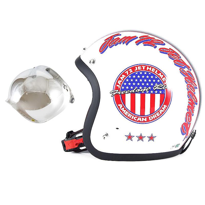 72JAM デザイナーズジェットヘルメット [JJ-05] 開閉シールド付き [JCBN-02]J&A ホワイト [パールゴールドホワイトベースグロス仕上げ]FREEサイズ(57-60cm未満) メンズ レディース 兼用品 SG規格 全排気量対応