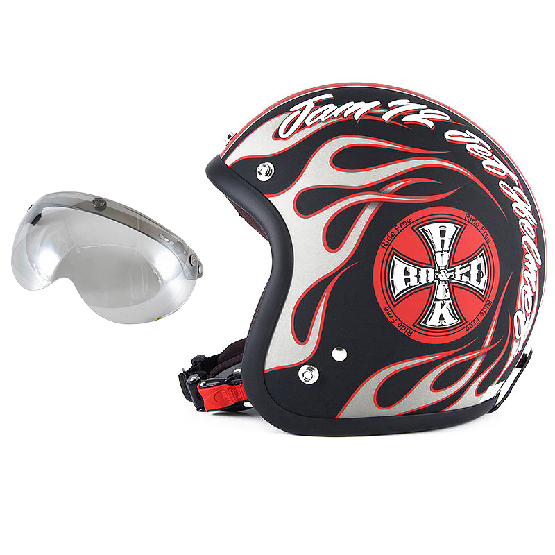 72JAM デザイナーズジェットヘルメット [JJ-06] 開閉シールド付き [APS-04]ROCK&ROLL ロックンロール マットブラック [ガラスフレークブラックベースマット仕上げ]FREEサイズ(57-60cm未満) メンズ レディース 兼用品 SG規格 全排気量対応