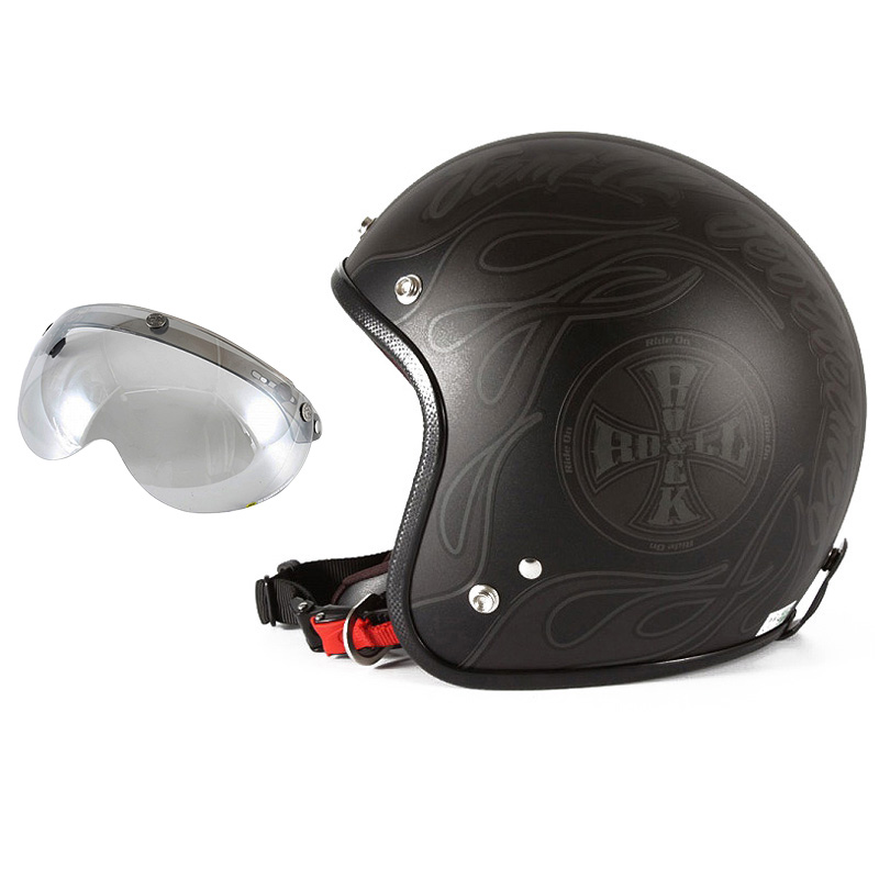 72JAM デザイナーズジェットヘルメット [WEB-06] 開閉シールド付き [APS-04]ROCK&ROLL ロックンロール マットブラック 限定カラー [ガラスフレークブラックベースマット仕上げ] FREEサイズ(57-60cm未満) メンズ レディース 兼用品 SG規格 全排気量対応