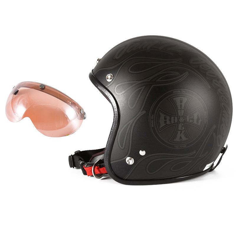 72JAM デザイナーズジェットヘルメット [WEB-06] 開閉シールド付き [APS-05]ROCK&ROLL ロックンロール マットブラック 限定カラー [ガラスフレークブラックベースマット仕上げ] FREEサイズ(57-60cm未満) メンズ レディース 兼用品 SG規格 全排気量対応
