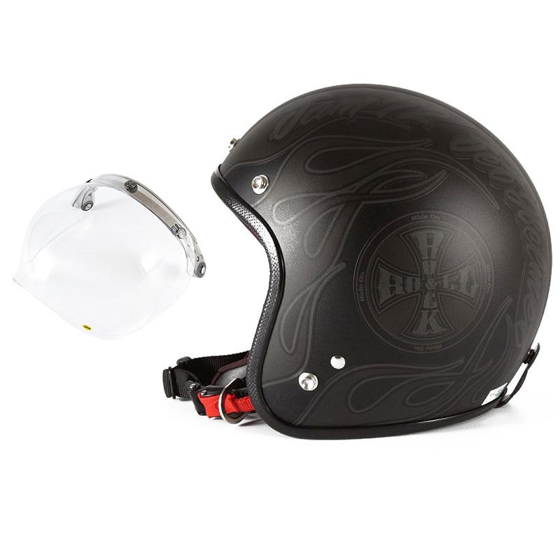 72JAM デザイナーズジェットヘルメット [WEB-06] 開閉シールド付き [JCBN-01]ROCK&ROLL ロックンロール マットブラック 限定カラー [ガラスフレークブラックベースマット仕上げ] FREEサイズ(57-60cm未満) メンズ レディース 兼用品 SG規格 全排気量対応