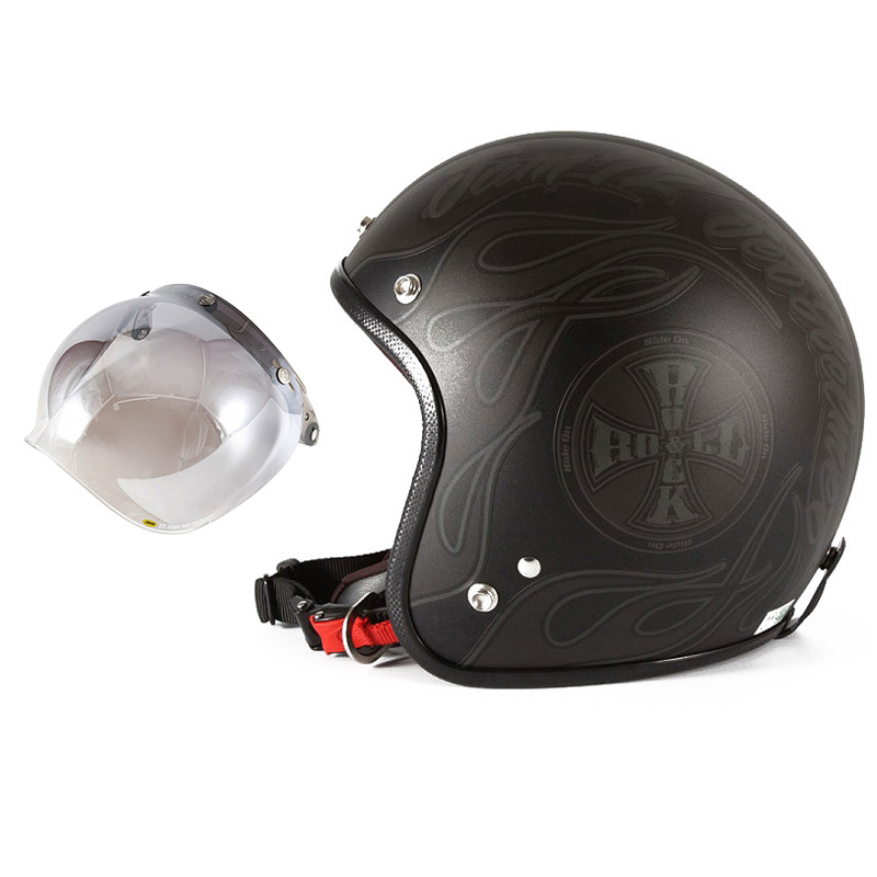 72JAM デザイナーズジェットヘルメット [WEB-06] 開閉シールド付き [JCBN-03]ROCK&ROLL ロックンロール マットブラック 限定カラー [ガラスフレークブラックベースマット仕上げ] FREEサイズ(57-60cm未満) メンズ レディース 兼用品 SG規格 全排気量対応