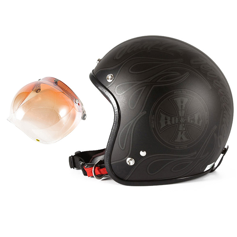 72JAM デザイナーズジェットヘルメット [WEB-06] 開閉シールド付き [JCBN-04]ROCK&ROLL ロックンロール マットブラック 限定カラー [ガラスフレークブラックベースマット仕上げ] FREEサイズ(57-60cm未満) メンズ レディース 兼用品 SG規格 全排気量対応