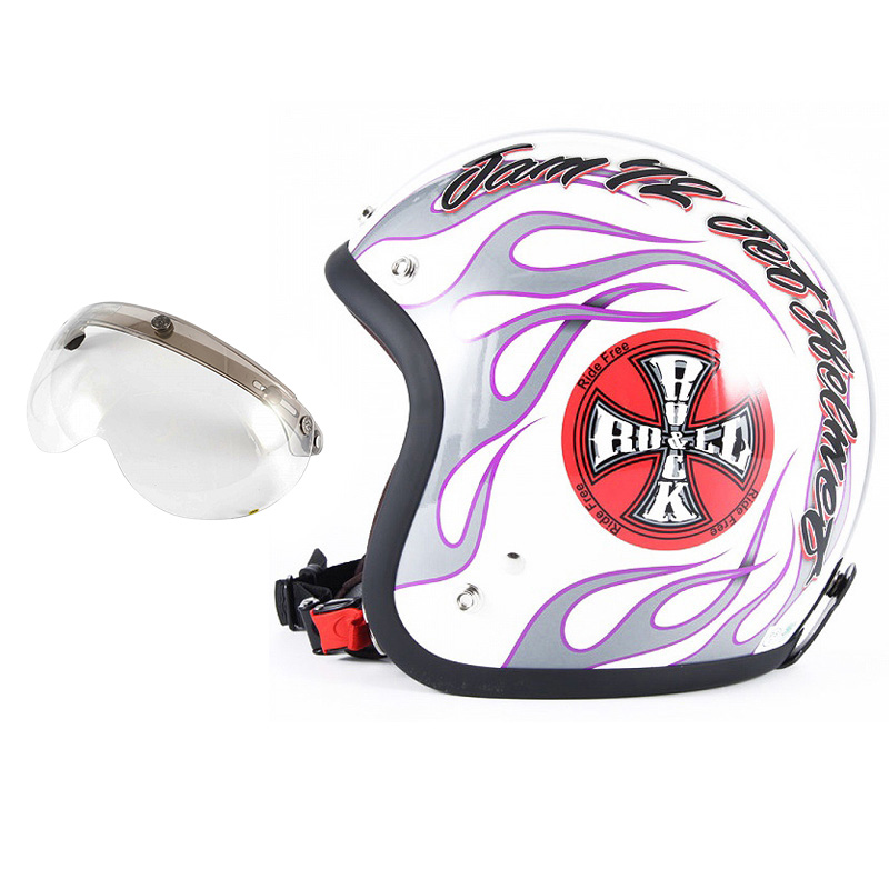 72JAM デザイナーズジェットヘルメット [JJ-07] 開閉シールド付き [APS-03]ROCK&ROLL ロックンロール ホワイト [パールゴールドホワイトベースグロス仕上げ]FREEサイズ(57-60cm未満) メンズ レディース 兼用品 SG規格 全排気量対応
