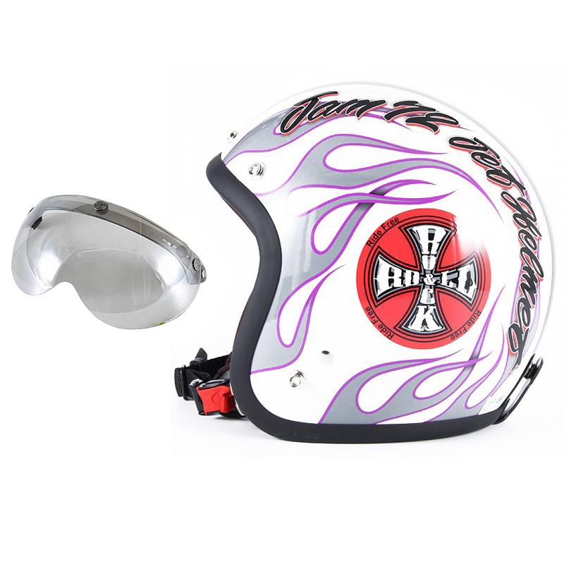 72JAM デザイナーズジェットヘルメット [JJ-07] 開閉シールド付き [APS-04]ROCK&ROLL ロックンロール ホワイト [パールゴールドホワイトベースグロス仕上げ]FREEサイズ(57-60cm未満) メンズ レディース 兼用品 SG規格 全排気量対応
