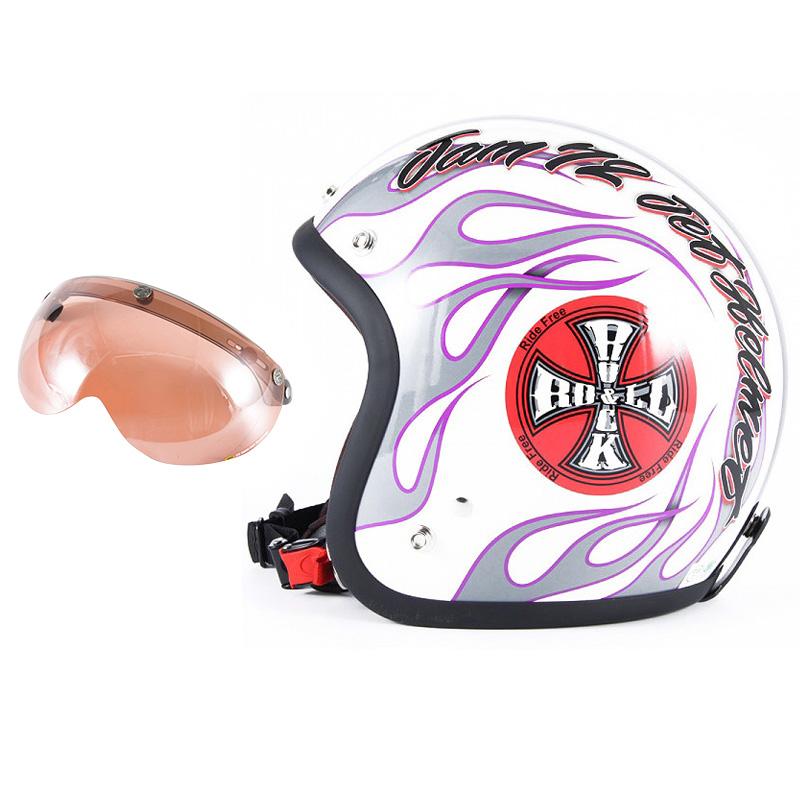 72JAM デザイナーズジェットヘルメット [JJ-07] 開閉シールド付き [APS-05]ROCK&ROLL ロックンロール ホワイト [パールゴールドホワイトベースグロス仕上げ]FREEサイズ(57-60cm未満) メンズ レディース 兼用品 SG規格 全排気量対応