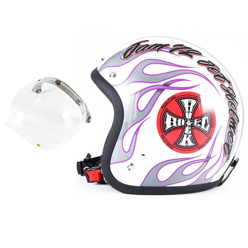 72JAM デザイナーズジェットヘルメット [JJ-07] 開閉シールド付き [JCBN-01]ROCK&ROLL ロックンロール ホワイト [パールゴールドホワイトベースグロス仕上げ]FREEサイズ(57-60cm未満) メンズ レディース 兼用品 SG規格 全排気量対応