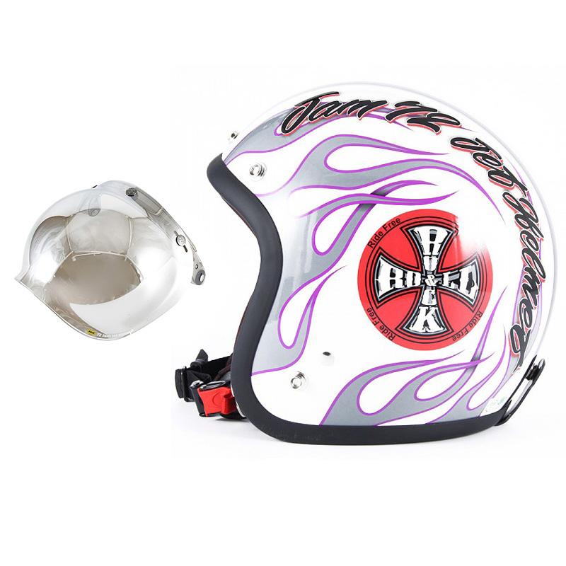 72JAM デザイナーズジェットヘルメット [JJ-07] 開閉シールド付き [JCBN-02]ROCK&ROLL ロックンロール ホワイト [パールゴールドホワイトベースグロス仕上げ]FREEサイズ(57-60cm未満) メンズ レディース 兼用品 SG規格 全排気量対応