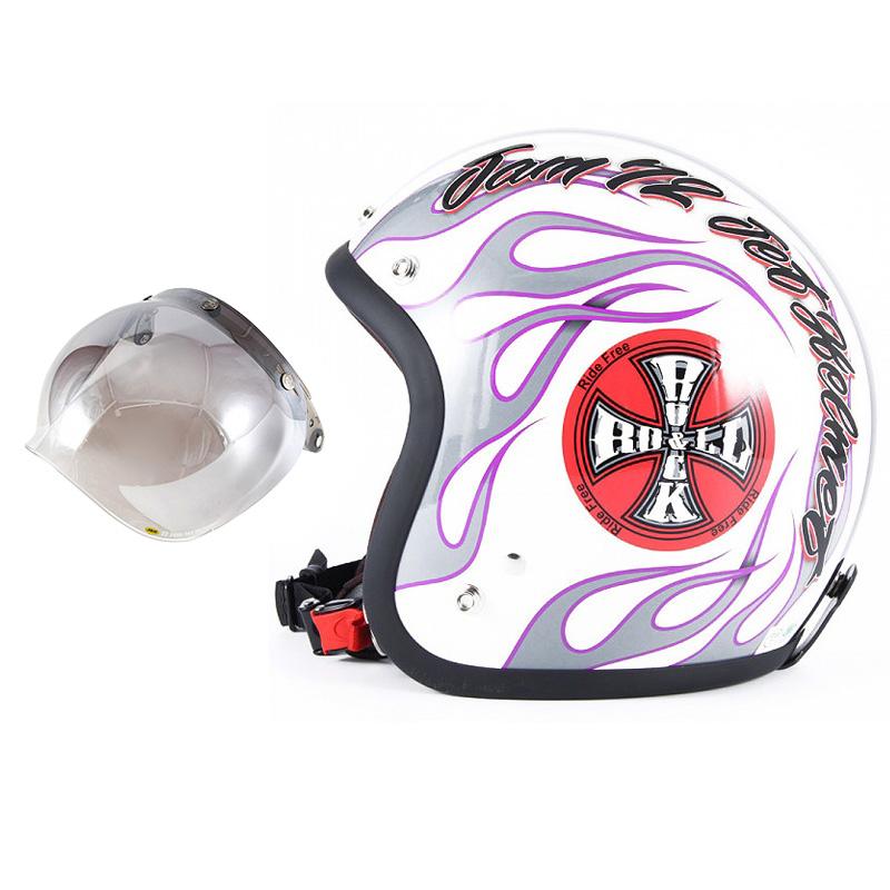 72JAM デザイナーズジェットヘルメット [JJ-07] 開閉シールド付き [JCBN-03]ROCK&ROLL ロックンロール ホワイト [パールゴールドホワイトベースグロス仕上げ]FREEサイズ(57-60cm未満) メンズ レディース 兼用品 SG規格 全排気量対応