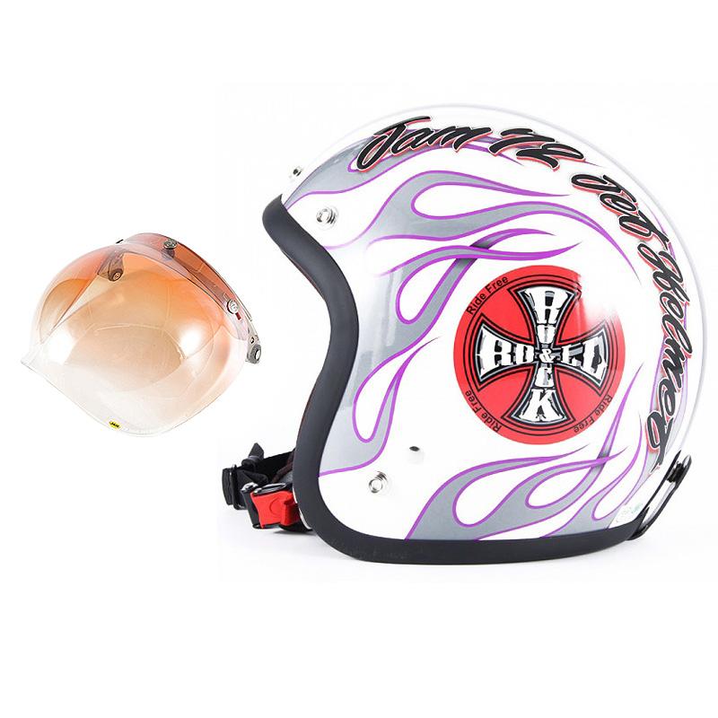 72JAM デザイナーズジェットヘルメット [JJ-07] 開閉シールド付き [JCBN-04]ROCK&ROLL ロックンロール ホワイト [パールゴールドホワイトベースグロス仕上げ]FREEサイズ(57-60cm未満) メンズ レディース 兼用品 SG規格 全排気量対応
