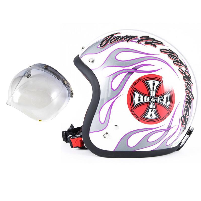 72JAM デザイナーズジェットヘルメット [JJ-07] 開閉シールド付き [JCBN-05]ROCK&ROLL ロックンロール ホワイト [パールゴールドホワイトベースグロス仕上げ]FREEサイズ(57-60cm未満) メンズ レディース 兼用品 SG規格 全排気量対応
