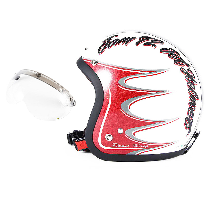 72JAM デザイナーズジェットヘルメット [JJ-08] 開閉シールド付き [APS-01]RODKIN ロドキン ホワイト [パールゴールドホワイトベースグロス仕上げ]FREEサイズ(57-60cm未満) メンズ レディース 兼用品 SG規格 全排気量対応