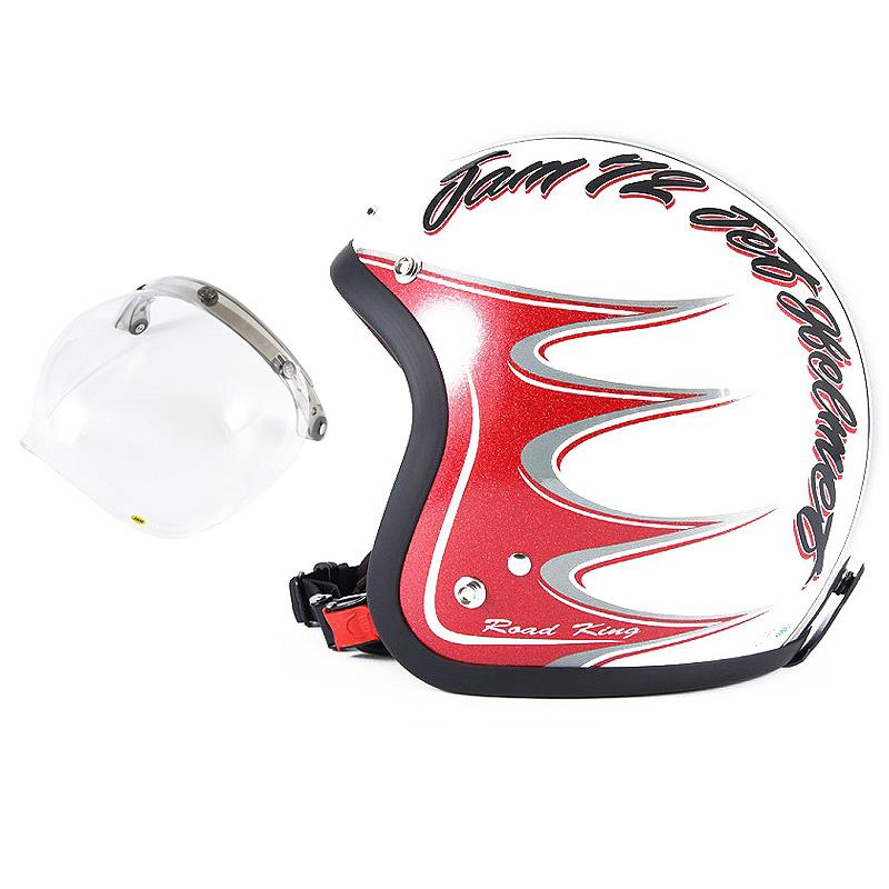 72JAM デザイナーズジェットヘルメット [JJ-08] 開閉シールド付き [JCBN-01]RODKIN ロドキン ホワイト [パールゴールドホワイトベースグロス仕上げ]FREEサイズ(57-60cm未満) メンズ レディース 兼用品 SG規格 全排気量対応