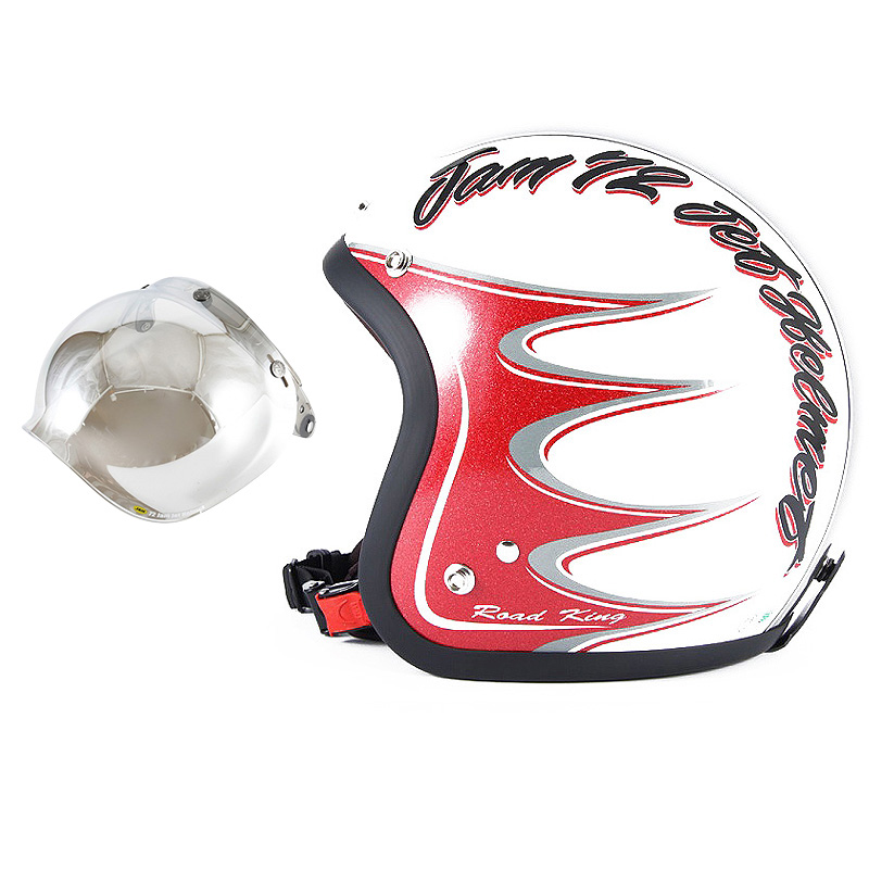 72JAM デザイナーズジェットヘルメット [JJ-08] 開閉シールド付き [JCBN-02]RODKIN ロドキン ホワイト [パールゴールドホワイトベースグロス仕上げ]FREEサイズ(57-60cm未満) メンズ レディース 兼用品 SG規格 全排気量対応