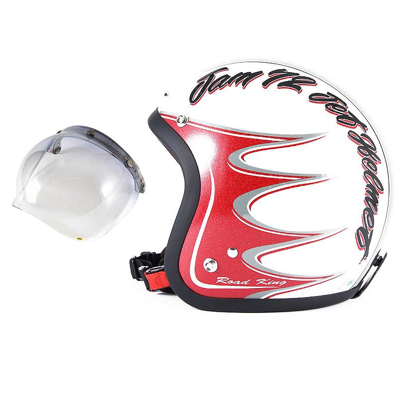 72JAM デザイナーズジェットヘルメット [JJ-08] 開閉シールド付き [JCBN-05]RODKIN ロドキン ホワイト [パールゴールドホワイトベースグロス仕上げ]FREEサイズ(57-60cm未満) メンズ レディース 兼用品 SG規格 全排気量対応