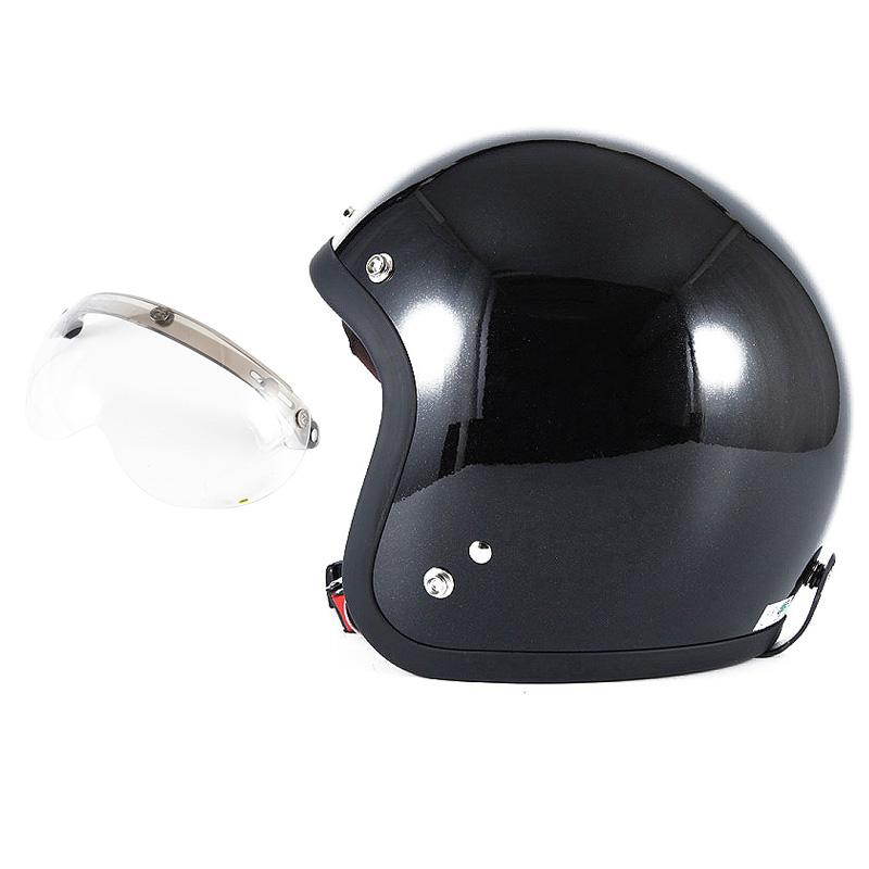 72JAM デザイナーズジェットヘルメット [JJ-10] 開閉シールド付き [APS-01]VIVID BLACK ブラック [ガラスフレークブラックグロス仕上げ]FREEサイズ(57-60cm未満) メンズ レディース 兼用品 SG規格 全排気量対応