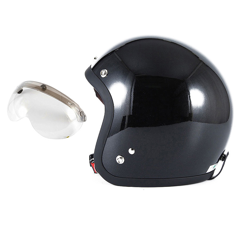 72JAM デザイナーズジェットヘルメット [JJ-10] 開閉シールド付き [APS-03]VIVID BLACK ブラック [ガラスフレークブラックグロス仕上げ]FREEサイズ(57-60cm未満) メンズ レディース 兼用品 SG規格 全排気量対応