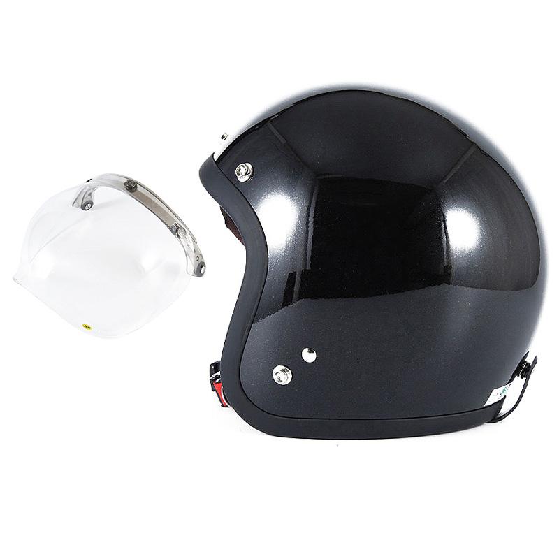 72JAM デザイナーズジェットヘルメット [JJ-10] 開閉シールド付き [JCBN-01]VIVID BLACK ブラック [ガラスフレークブラックグロス仕上げ]FREEサイズ(57-60cm未満) メンズ レディース 兼用品 SG規格 全排気量対応