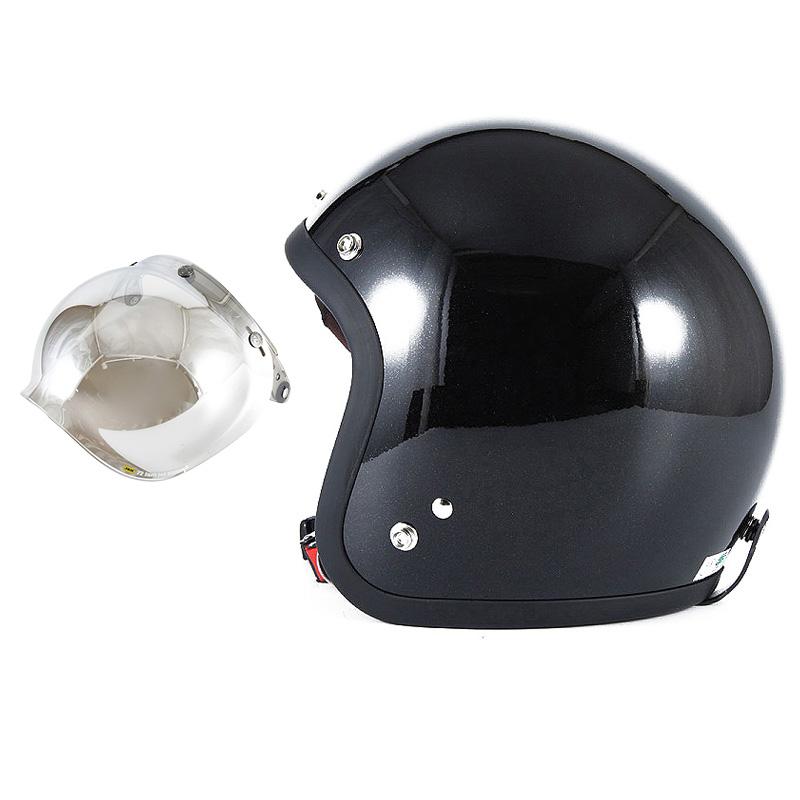 72JAM デザイナーズジェットヘルメット [JJ-10] 開閉シールド付き [JCBN-02]VIVID BLACK ブラック [ガラスフレークブラックグロス仕上げ]FREEサイズ(57-60cm未満) メンズ レディース 兼用品 SG規格 全排気量対応