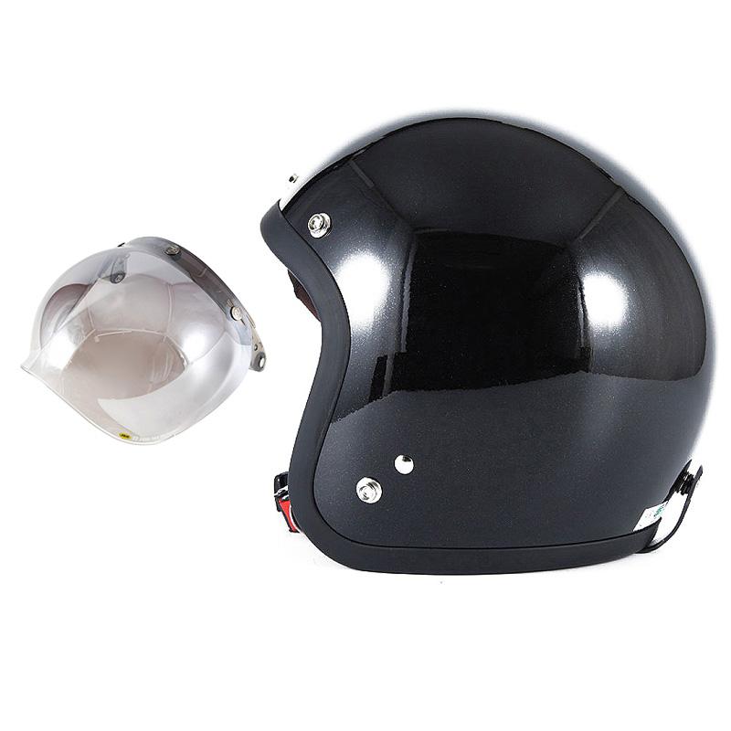 72JAM デザイナーズジェットヘルメット [JJ-10] 開閉シールド付き [JCBN-03]VIVID BLACK ブラック [ガラスフレークブラックグロス仕上げ]FREEサイズ(57-60cm未満) メンズ レディース 兼用品 SG規格 全排気量対応
