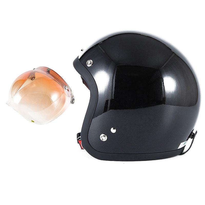 72JAM デザイナーズジェットヘルメット [JJ-10] 開閉シールド付き [JCBN-04]VIVID BLACK ブラック [ガラスフレークブラックグロス仕上げ]FREEサイズ(57-60cm未満) メンズ レディース 兼用品 SG規格 全排気量対応