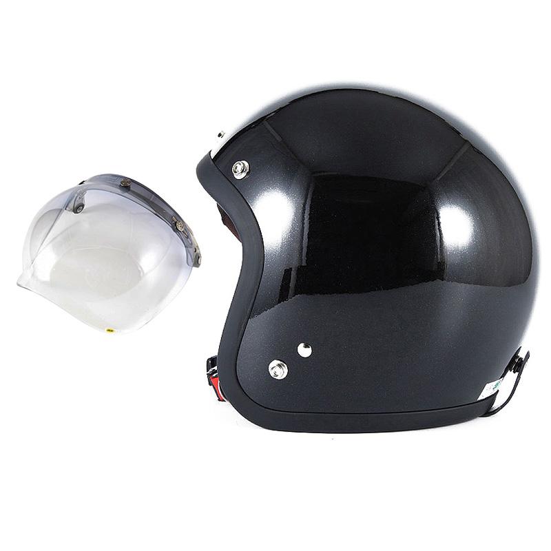 72JAM デザイナーズジェットヘルメット [JJ-10] 開閉シールド付き [JCBN-05]VIVID BLACK ブラック [ガラスフレークブラックグロス仕上げ]FREEサイズ(57-60cm未満) メンズ レディース 兼用品 SG規格 全排気量対応