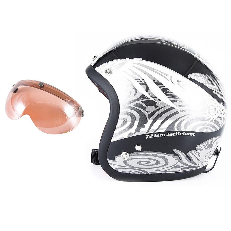 72JAM デザイナーズジェットヘルメット [JJ-15] 開閉シールド付き [APS-05]NATIVE ネイティブ ブラック [ガラスフレークブラックベースグロス仕上げ]FREEサイズ(57-60cm未満) メンズ レディース 兼用品 SG規格