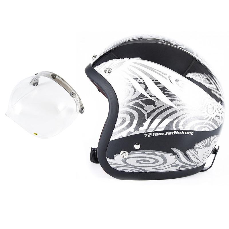 72JAM デザイナーズジェットヘルメット [JJ-15] 開閉シールド付き [JCBN-01]NATIVE ネイティブ ブラック [ガラスフレークブラックベースグロス仕上げ]FREEサイズ(57-60cm未満) メンズ レディース 兼用品 SG規格
