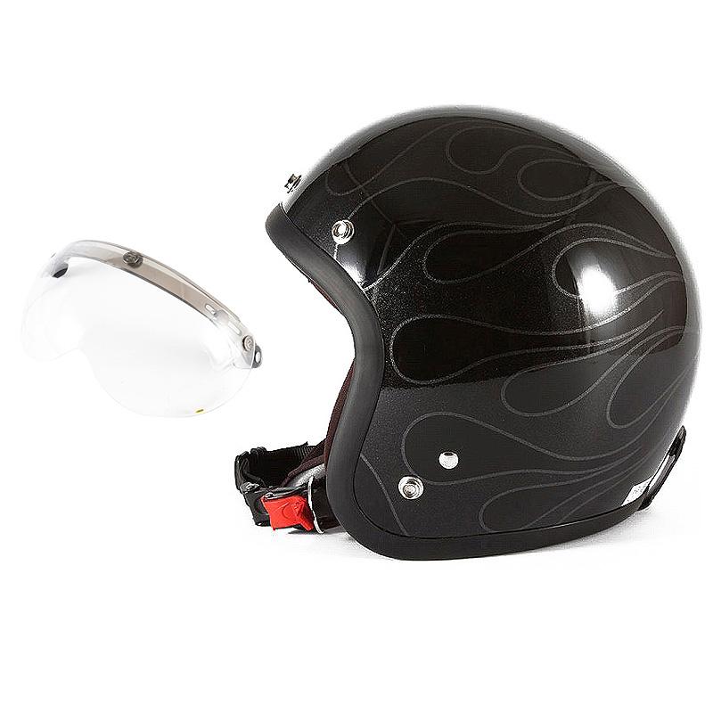 72JAM デザイナーズジェットヘルメット [WEB-07] 開閉シールド付き [APS-01]STEALTH ステルス ブラック 限定カラー [ガラスフレークブラックベースグロス仕上げ]FREEサイズ(57-60cm未満) メンズ レディース 兼用品 SG規格 全排気量対応