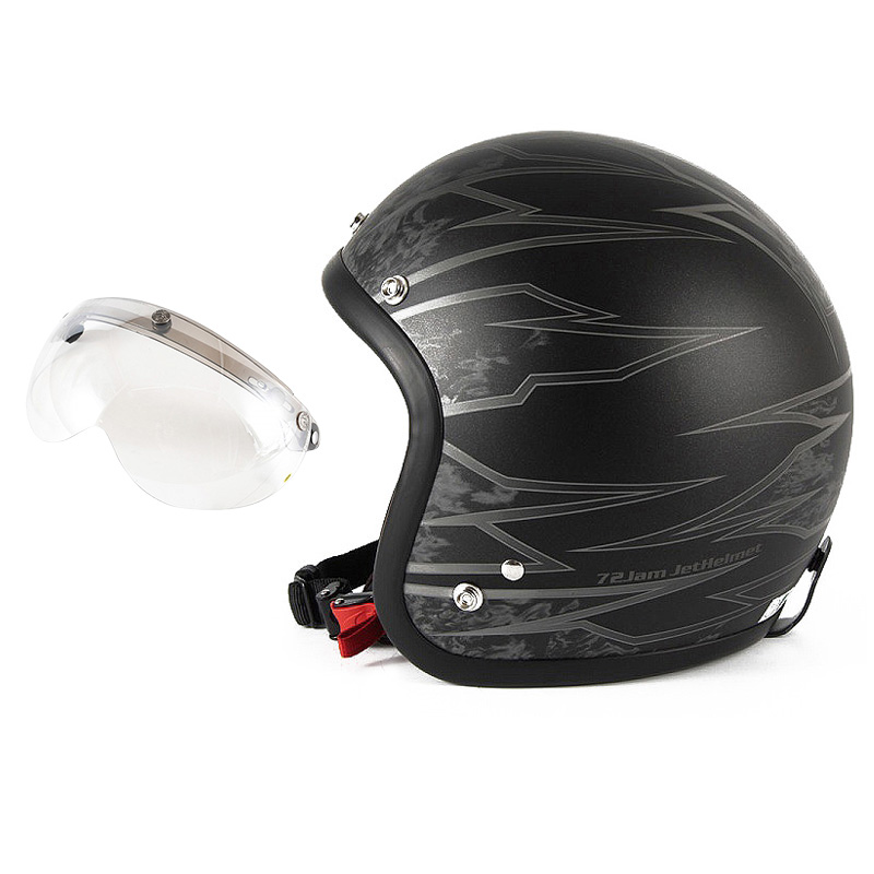 72JAM デザイナーズジェットヘルメット [JJ-18M] 開閉シールド付き [APS-02]ジャムテックジャパン 72JAM JJ-18MSTING スティング マットブラック [ブラックベースマット仕上げ]FREEサイズ(57-60cm未満) メンズ レディース 兼用品 SG規格 全排気量対応