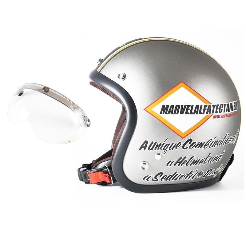 72JAM デザイナーズジェットヘルメット [JJ-21] 開閉シールド付き [APS-01]MARVEL マーベル シルバーグレー [シルバーグレーベース マット仕上げ]FREEサイズ(57-60cm未満) メンズ レディース 兼用品 SG規格 全排気量対応