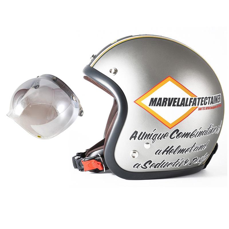72JAM デザイナーズジェットヘルメット [JJ-21] 開閉シールド付き [JCBN-03]MARVEL マーベル シルバーグレー [シルバーグレーベース マット仕上げ]FREEサイズ(57-60cm未満) メンズ レディース 兼用品 SG規格 全排気量対応