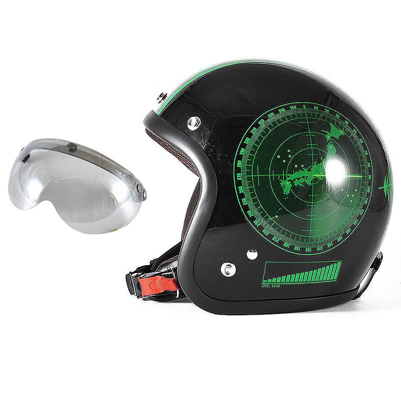 72JAM デザイナーズジェットヘルメット [JJ-23] 開閉シールド付き [APS-04]BEACON ビーコン ブラック [グリーンフレークブラックベースグロス仕上げ]FREEサイズ(57-60cm未満) メンズ レディース 兼用品 SG規格 全排気量対応