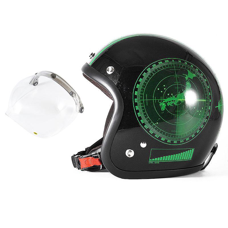 72JAM デザイナーズジェットヘルメット [JJ-23] 開閉シールド付き [JCBN-01]BEACON ビーコン ブラック [グリーンフレークブラックベースグロス仕上げ]FREEサイズ(57-60cm未満) メンズ レディース 兼用品 SG規格 全排気量対応