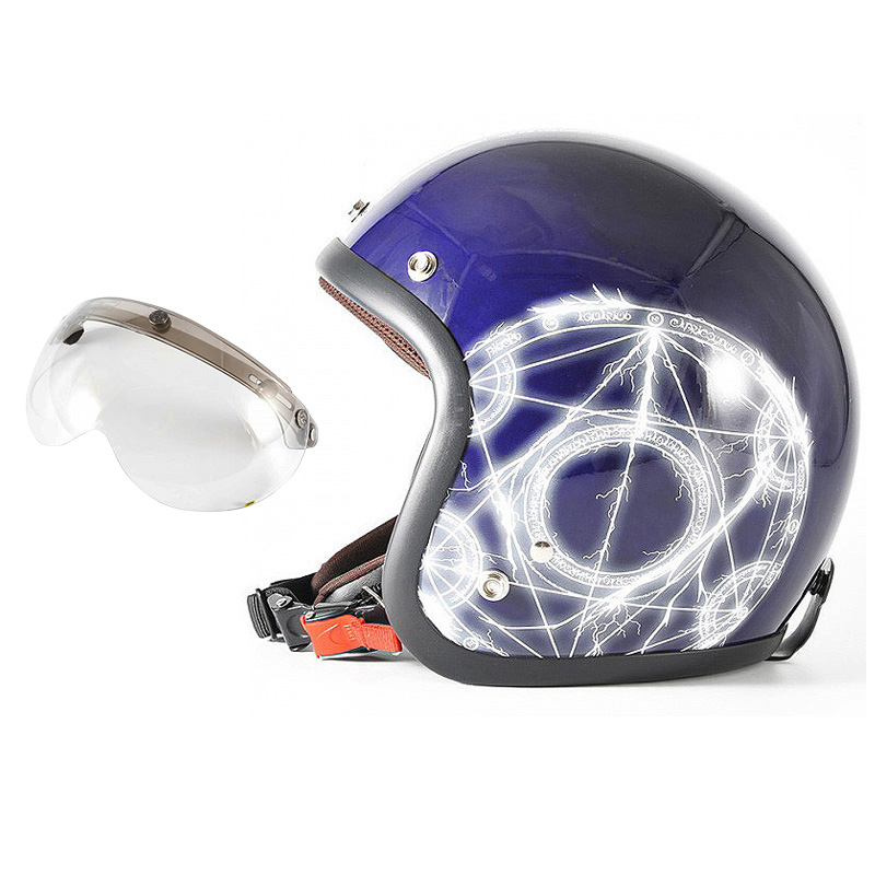 72JAM デザイナーズジェットヘルメット [JJ-24] 開閉シールド付き [APS-03]ALCHEMIST アルケミスト ディープパープル [ディープパープルベースグロス仕上げ]FREEサイズ(57-60cm未満) メンズ レディース 兼用品 SG規格 全排気量対応