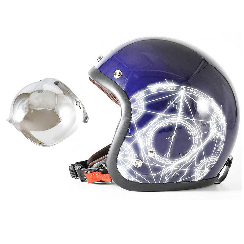 72JAM デザイナーズジェットヘルメット [JJ-24] 開閉シールド付き [JCBN-02]ALCHEMIST アルケミスト ディープパープル [ディープパープルベースグロス仕上げ]FREEサイズ(57-60cm未満) メンズ レディース 兼用品 SG規格 全排気量対応