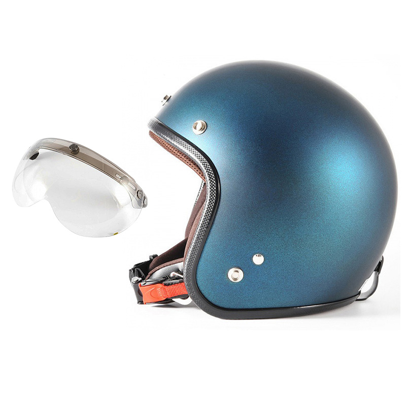 72JAM デザイナーズジェットヘルメット [JP-08] 開閉シールド付き [APS-03]TWILIGHT トワイライト ブルー [メタリックブラックベース キャンディーブルー マット仕上げ]FREEサイズ(57-60cm未満) メンズ レディース 兼用品 SG規格 全排気量対応