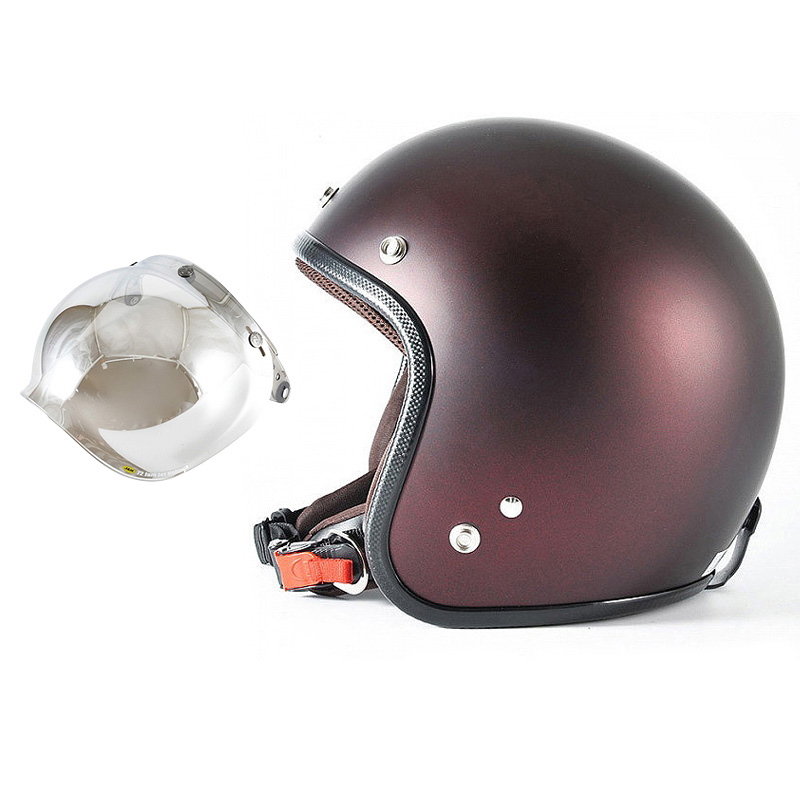 72JAM デザイナーズジェットヘルメット [JP-10] 開閉シールド付き [JCBN-02]TWILIGHT トワイライト+ レッド [メタリックブラックベース キャンディーレッド マット仕上げ]FREEサイズ(57-60cm未満) メンズ レディース 兼用品 SG規格 全排気量対応