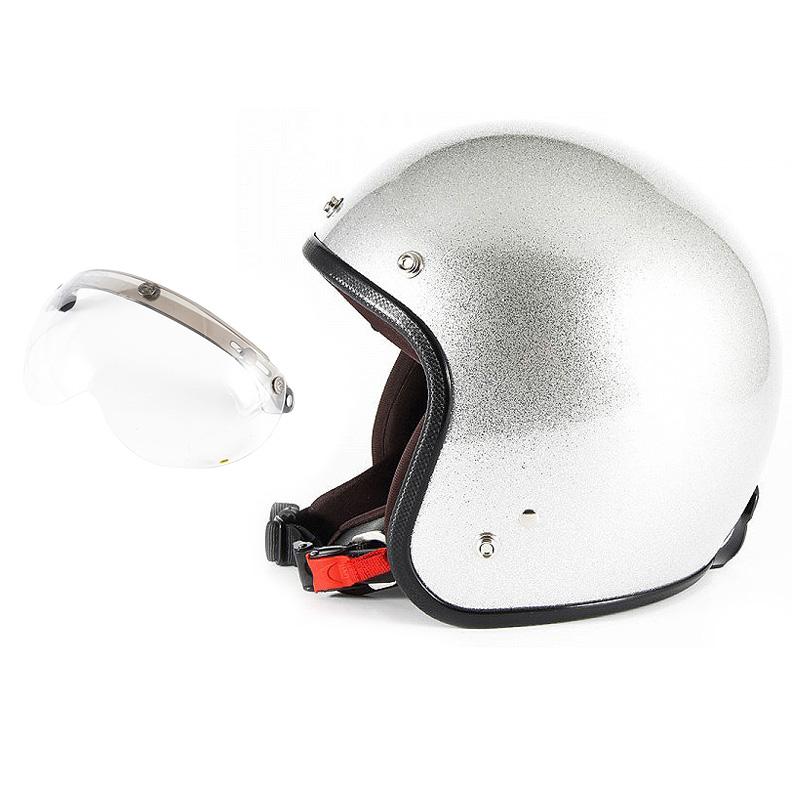 【JPF-4L+APS-01】ジャムテックジャパン 72JAM JPF-4LJP MONO ジェットヘルメット [シルバーフレーク]Lサイズ(60-62cm未満) メンズ SG規格 全排気量対応