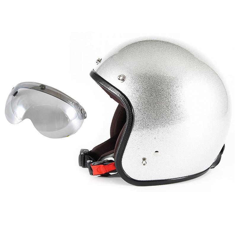 【JPF-4L+APS-04】ジャムテックジャパン 72JAM JPF-4LJP MONO ジェットヘルメット [シルバーフレーク]Lサイズ(60-62cm未満) メンズ SG規格 全排気量対応