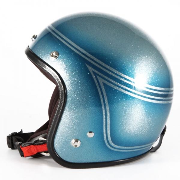 72JAM デザイナーズジェットヘルメット [VNT-03]SHINE OCEAN ヴィンテージ [ブルーシルバーフレークベースグロス仕上げ]FREEサイズ(57-60cm未満) メンズ レディース 兼用品 SG規格 全排気量対応