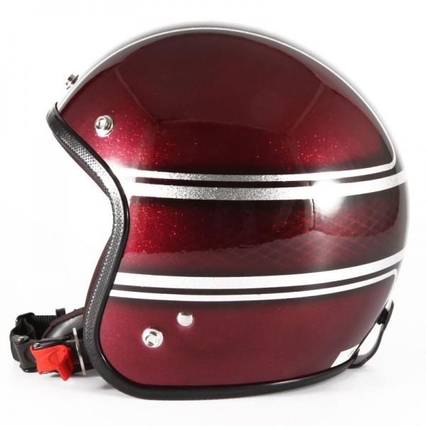 72JAM デザイナーズジェットヘルメット [VNT-05]JOHNNY CINQ ヴィンテージ [レッドシルバーフレークベースグロス仕上げ]FREEサイズ(57-60cm未満) メンズ レディース 兼用品 SG規格 全排気量対応