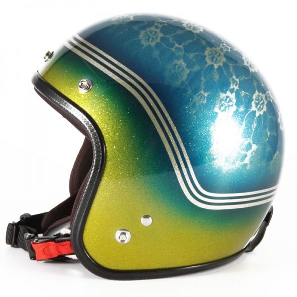 72JAM デザイナーズジェットヘルメット [VNT-12]FLORA ヴィンテージ [ブルーシルバーフレークベースグロス仕上げ]FREEサイズ(57-60cm未満) メンズ レディース 兼用品 SG規格 全排気量対応